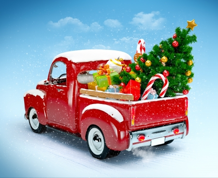 Christmas background  Pickup with christmas tree and gifts  Merry Christmas and Happy New Year
