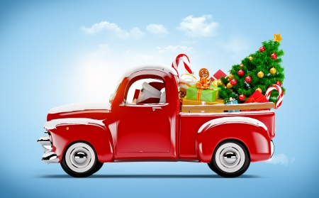 winter car: Christmas background  Pickup with christmas tree and gifts  Merry Christmas and Happy New Year