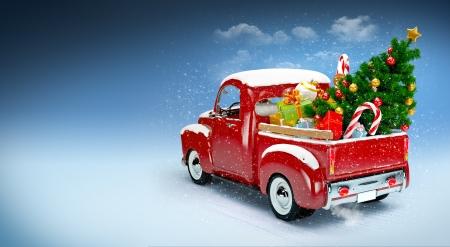 weihnachtskarten: Weihnachten Hintergrund Pickup mit Weihnachtsbaum und Geschenken Frohe Weihnachten und Happy New Year