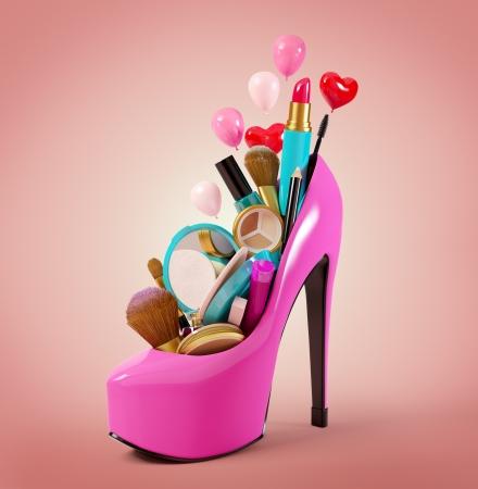 cute shoes: Cosmetics set into a woman