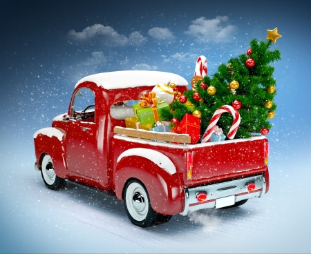 open car: Christmas background  Pickup with christmas tree and gifts  Merry Christmas and Happy New Year