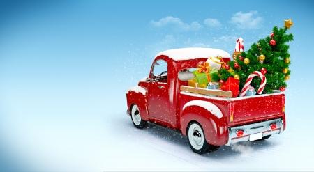 Fond de Noël de ramassage avec des arbres et des cadeaux Joyeux Noël et Bonne Année Noël Banque d'images - 24096643