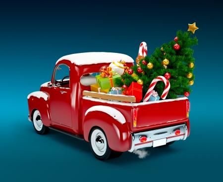 Kerst achtergrond Pickup met Kerst boom en geschenken Vrolijk Kerstfeest en Gelukkig Nieuwjaar
