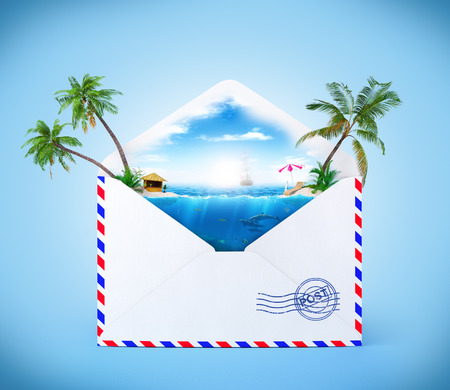 postal card: Ocean and tropical islands in a opened envelope. Traveling Stock Photo
