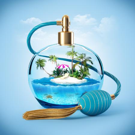 Isola tropicale in una bottiglia di profumo. Viaggiare sfondo