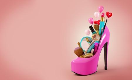 chaussure: Cosmétiques mis dans la chaussure de femme. Illustration de mode