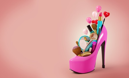 Cosmetics set into a womans shoe. Fashion illustration