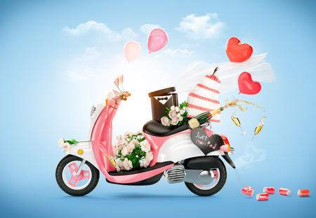 pareja de esposos: Vespa de la vendimia con flores, pastel de bodas y el champán. Boda. Luna de miel