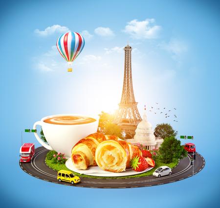 desayuno: Desayuno en París. Viajando fondo Foto de archivo