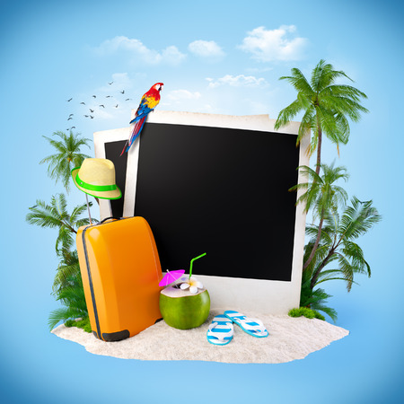 Empty photos on a sand. Tropical background. Traveling photo