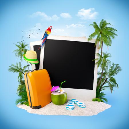 Lege foto op een zand. Tropische achtergrond. Reizend Stockfoto