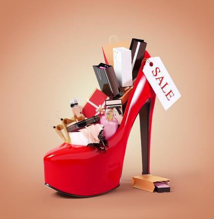 Aankopen mode in de schoen van een vrouw. Verkoop