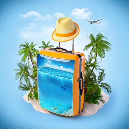 snorkelling: Luggage suitcase with ocean inside. Tropical background. Traveling