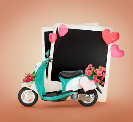 Empty photos and vintage scooter with flowers, balloons and heart at blue background. Love photo