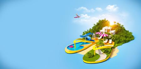 Tropical resort on flip-flops. Unusual illustration of vacation.