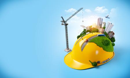Stadt an der Bau-Helm. Standard-Bild