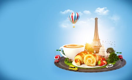 Breakfast in Paris. Traveling background