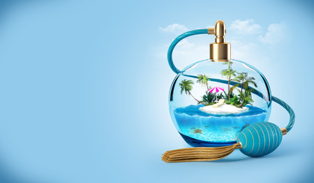 island beach: Tropical island in a perfume bottle. Traveling background Stock Photo
