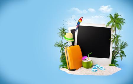 Lege foto's op een zand. Tropische achtergrond. reizend