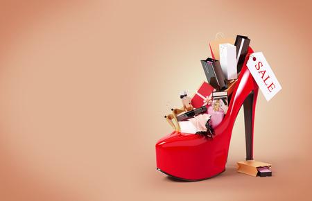 productos de belleza: Compras de moda en un zapato de mujer. Venta