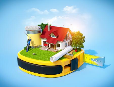 konzepte: Haus mit Hof und Baumaschinen auf einem Maßband. Bau-Konzept