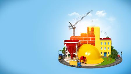 condominium complex: Construction Site.  Concept of construction of buildings