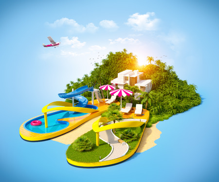paradise beach: Tropical resort on flip-flops. Unusual illustration of vacation.