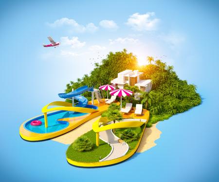 Tropische resort op flip-flops. Ongebruikelijke illustratie van vakantie. Stockfoto
