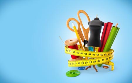 coser: Herramientas de costura en el fondo azul. Concepto de diseño de moda
