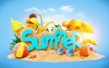 明るく、珍しい、カラフルな夏の背景 写真素材