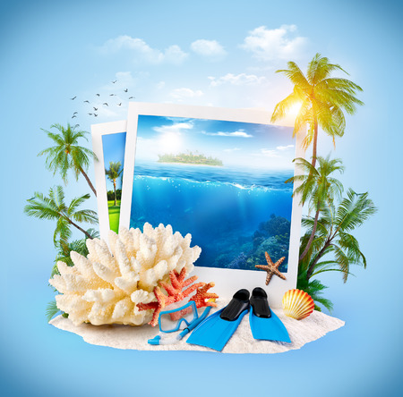 dive trip: Diving equipment and corals on sand  Travel Background Stock Photo