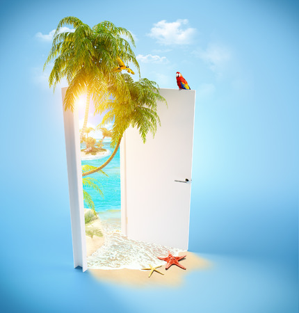 Opened door to the tropical paradise  Travel Background photo