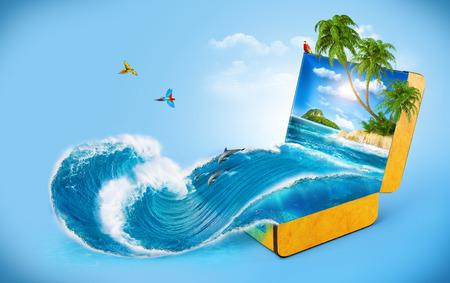 Tropische achtergrond van koffer reizen, vakantie, Water splash