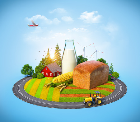 Farm with bread, milk, corn and house on a field  Agrarian background photo