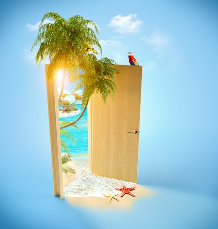 Opened door to the tropical paradise. Travel Background photo