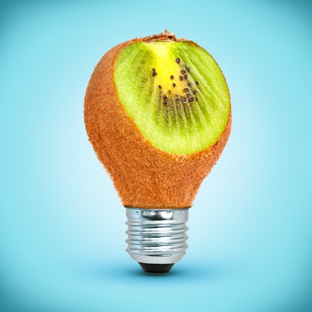Light bulb in shape of kiwi