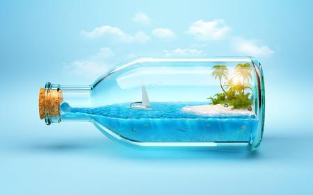 botella: isla tropical y el mundo bajo el agua en la botella. Viajar, vacaciones