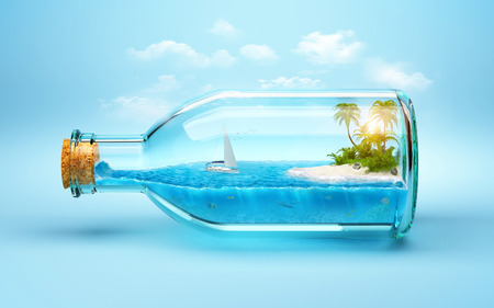 underwater fishes: tropical island and underwater world in  the bottle. Traveling, vacation