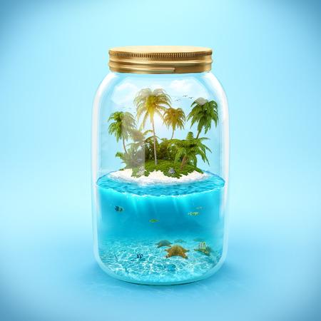 熱帯の島と瓶で水中の世界 写真素材