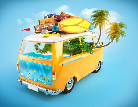 exotic car: Minivan with luggage and tropical island inside
