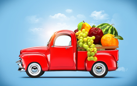 pickup truck: Pickup truck loaded by fruits