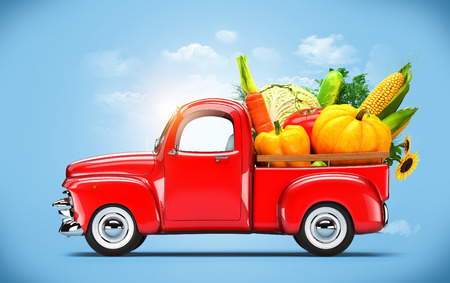 Pickup truck loaded by vegetables Stock fotó - 28230022