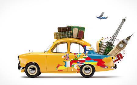 유럽의 유명한 기념물과 자동차로 여행
