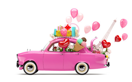 unusual valentine: Pink car with symbols of love