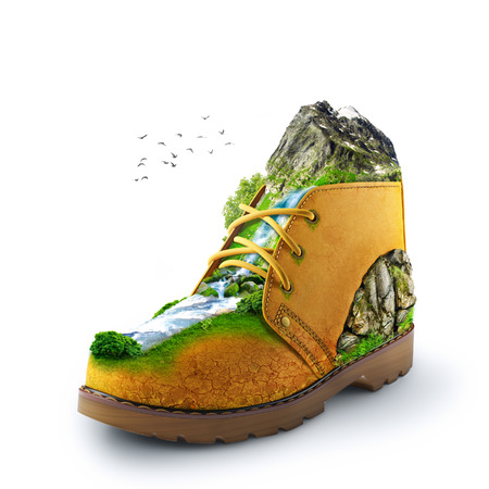 crack climbing: illustration of shoe with mountain and river  traveling