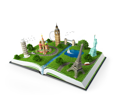 illustration of a opened book with famous monuments  traveling