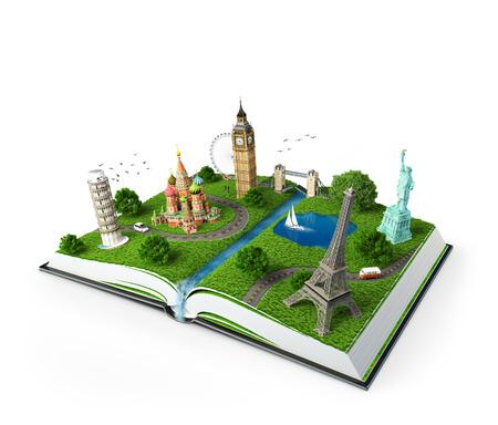 Illustrazione di un libro aperto con monumenti famosi in viaggio Archivio Fotografico - 28222470