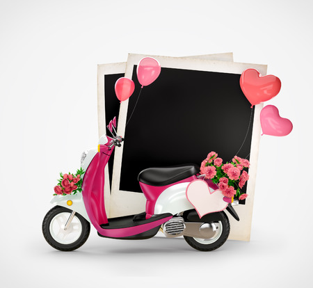 Empty photos and vintage scooter with flowers, balloons and heart at white  background  Love photo