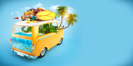 exotic car: Creative Illustration of traveling theme  Minivan with luggage and tropical island inside  Underwater world