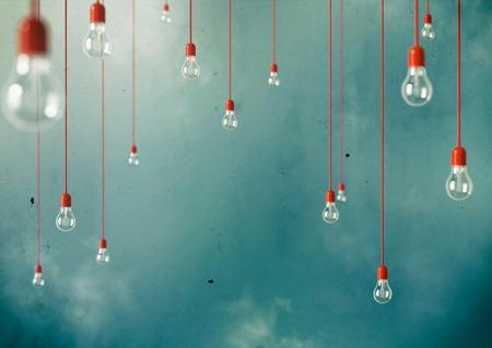 Foto van Opknoping gloeilampen met scherptediepte Moderne kunst